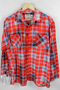 Vintage Retro Red, White and Blue Flannel Size Large