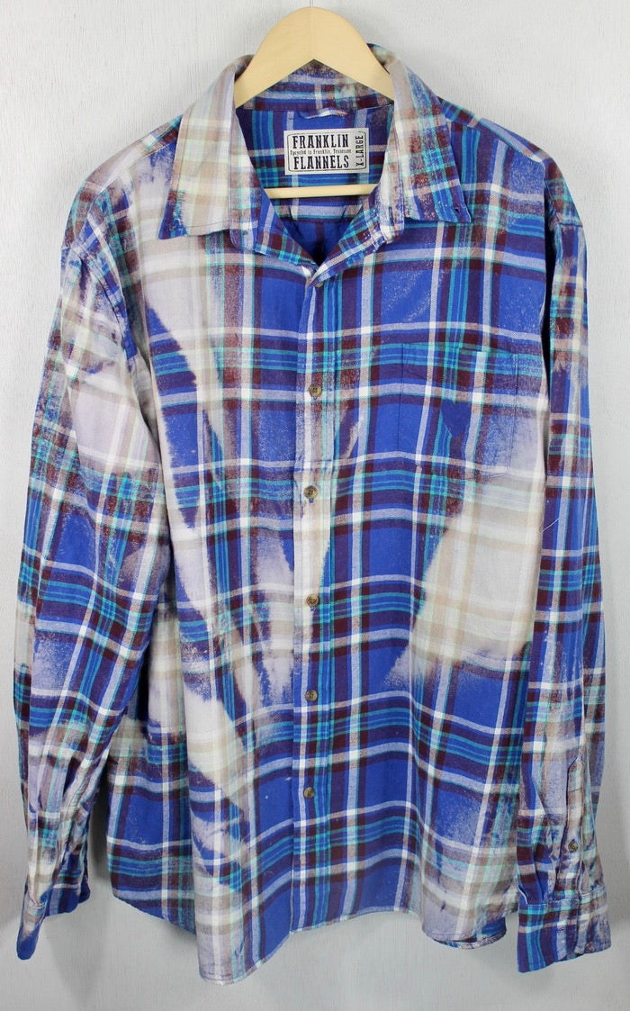 Vintage Royal Blue, Purple and Cream Flannel Size XL