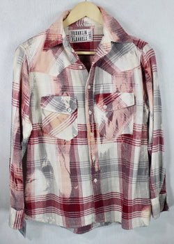 Vintage Red, Pink, Grey and Cream Flannel Size Small