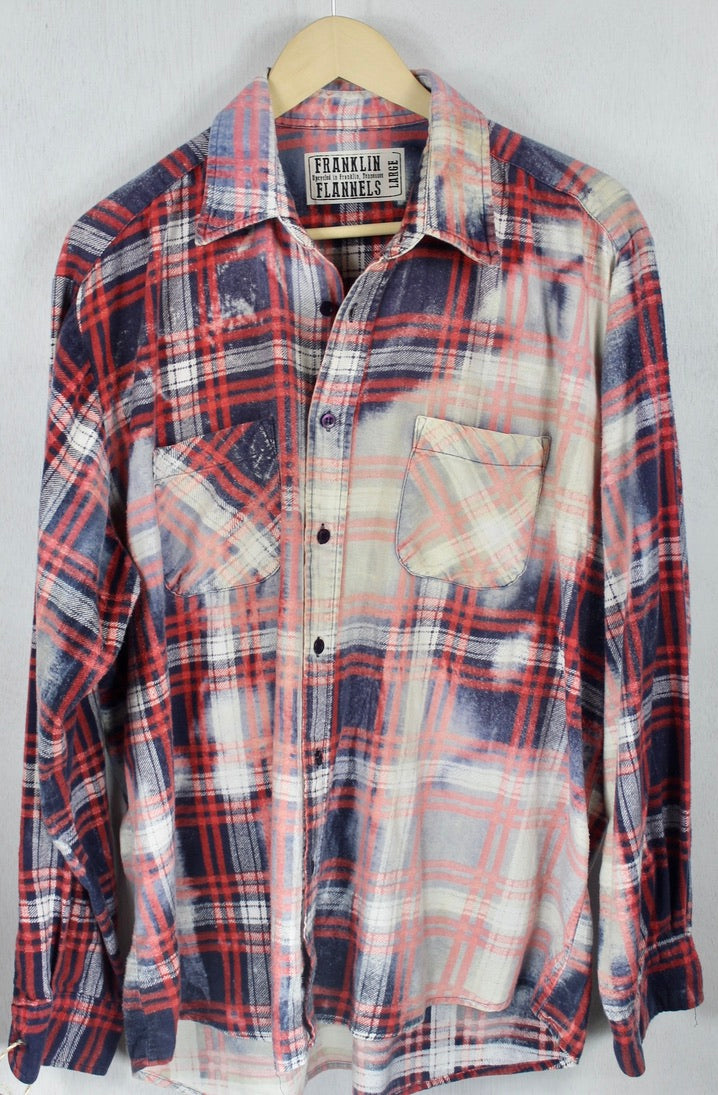 Vintage Red, Navy Blue and Cream Flannel Size Large
