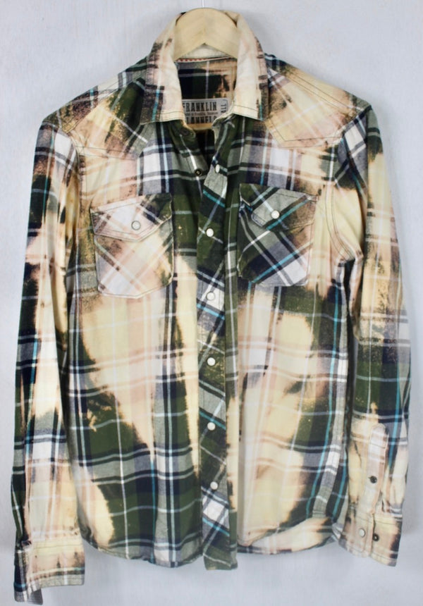 Vintage Army Green, Peach and Blue Western Style Flannel Size Small