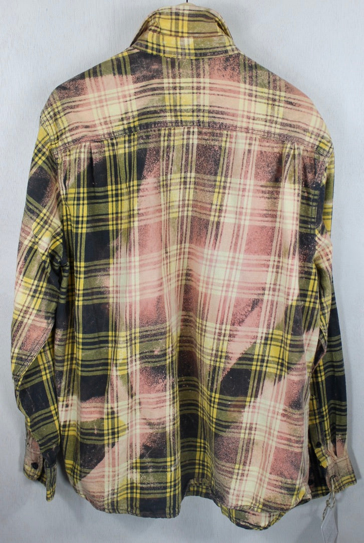 Vintage Yellow, Black and Pink Flannel Size Large