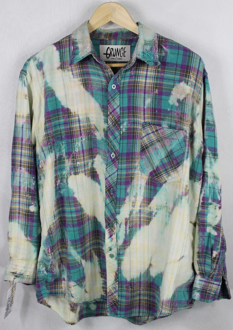 Vintage Grunge Turquoise, Purple and Seafoam Green Flannel Size Large