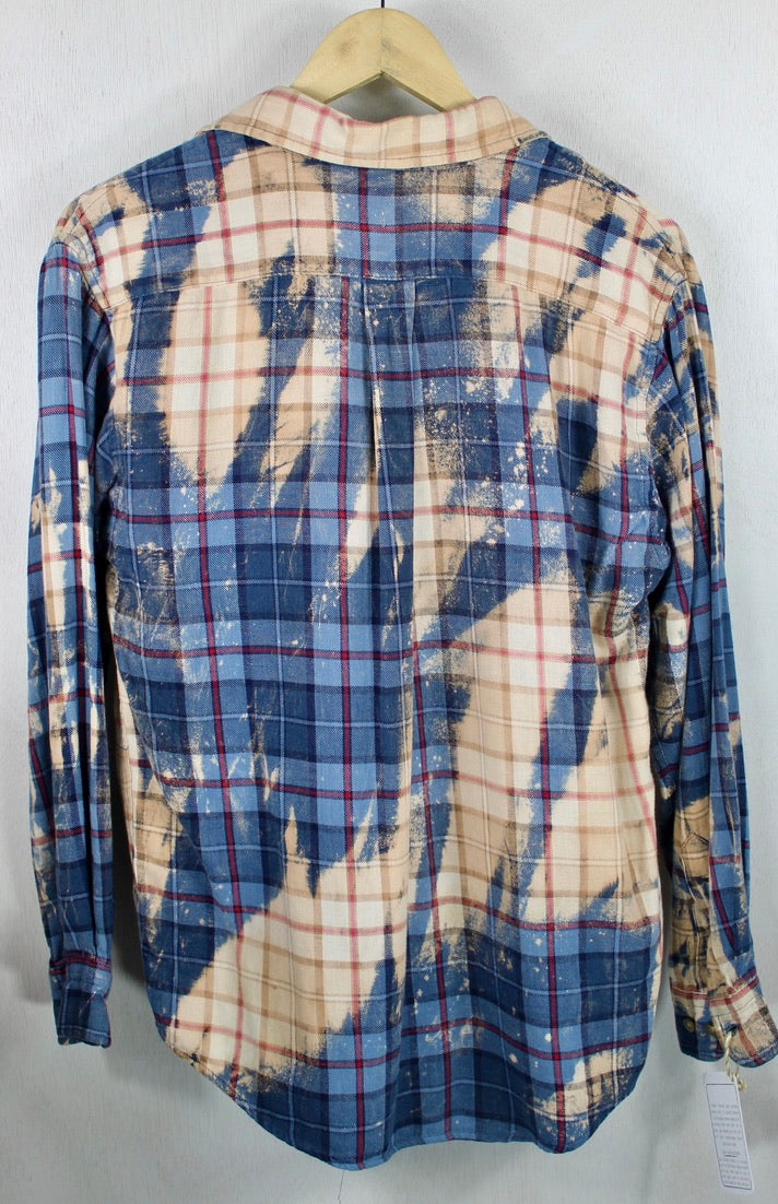 Vintage Blue, Cream and Peach Lightweight Flannel Size Small