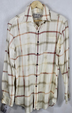 Vintage Cream, Peach, Faded Red Lightweight Flannel Size Large