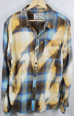 Vintage Blue, Gold and Cream Flannel Size Large