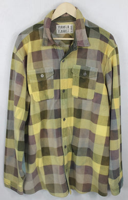 Vintage Yellow, Brown and Taupe Flannel Size XL
