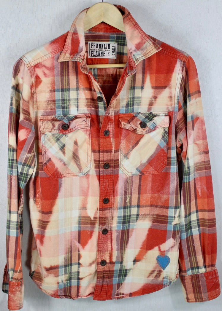 Vintage Red, Cream and Light Blue Flannel Size Small