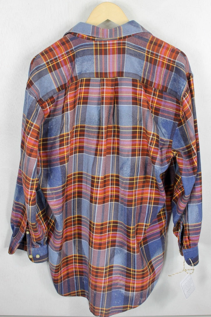 Vintage Denim Blue, Rust and Gold Flannel Size XL