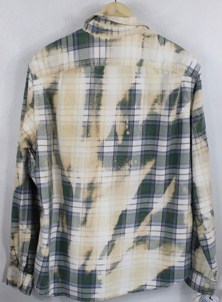 Vintage Dark Green, Sage and Cream Flannel Size Large