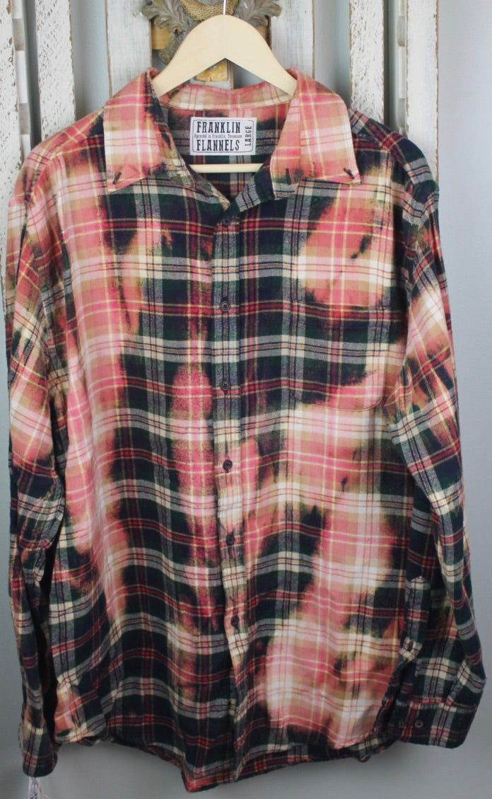 Vintage Red, Navy, Pink, and Cream Flannel Size Large