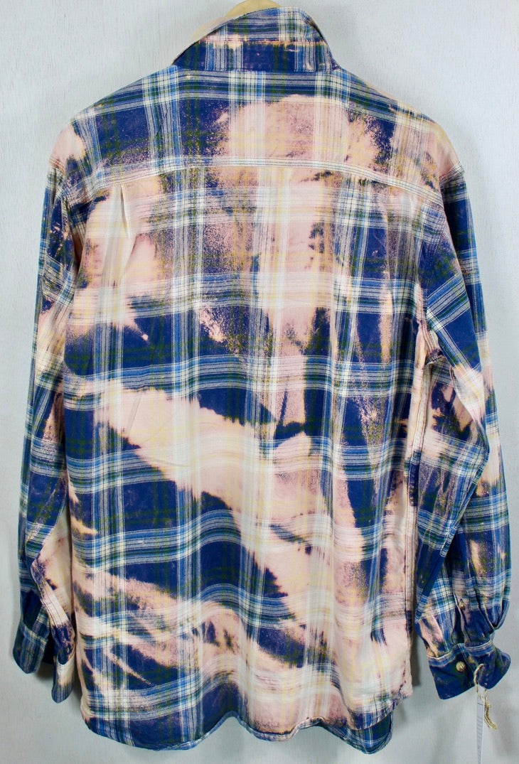 Vintage Blue and Pink Flannel Size XL
