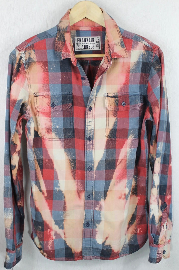 Vintage Denim Blue, Red and Pink Flannel Size Small
