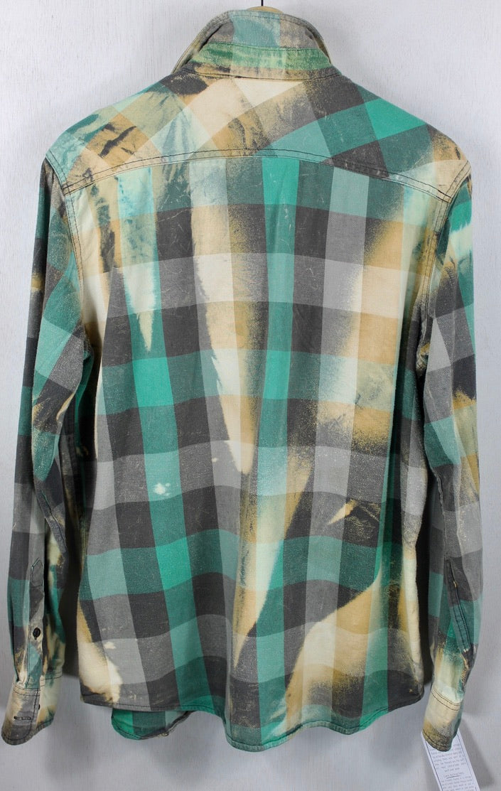 Vintage Green, Black, Cream Flannel Size Large