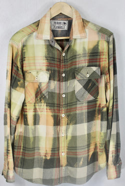 Vintage Army Green, Light Green, and Gold Flannel Size Medium