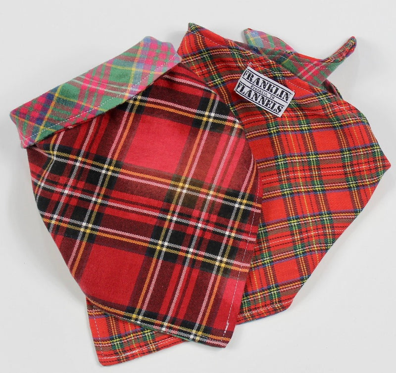 Dog Bandana Red and Green Plaid Size Small