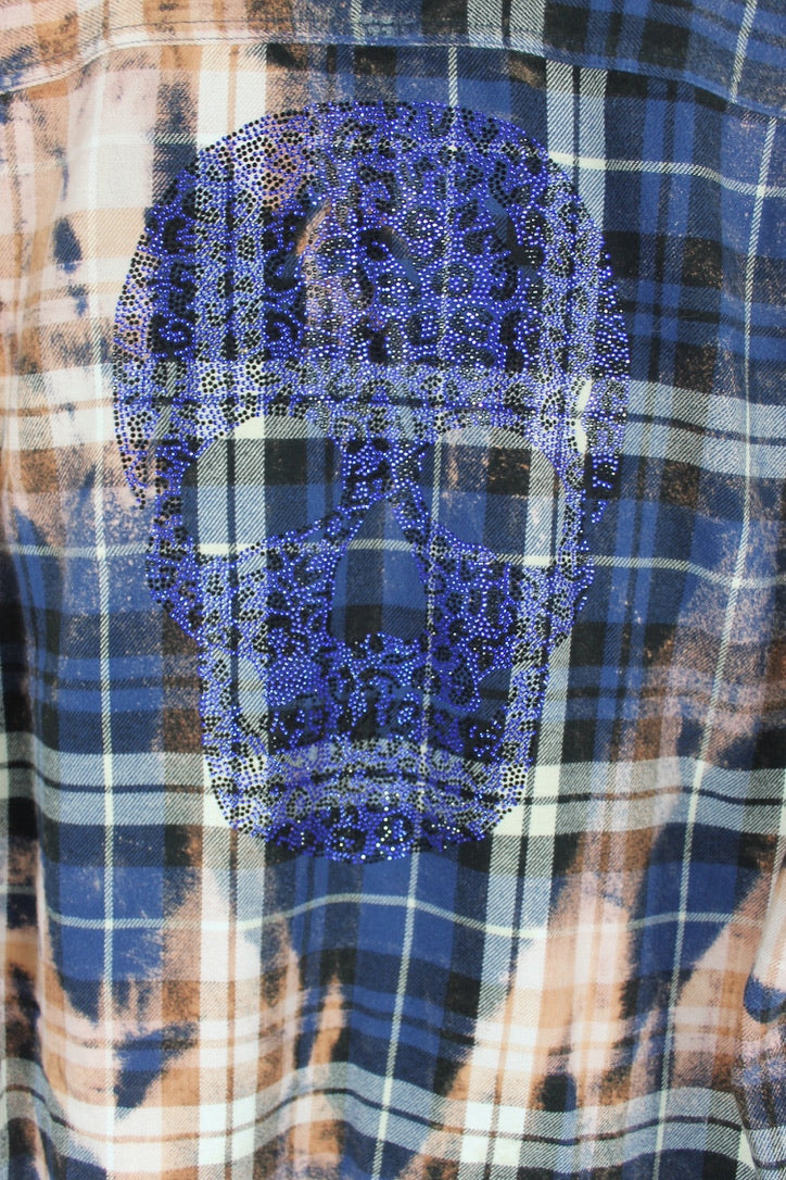 Fanciful Vintage Blue and Rust Flannel with Blue Leopard Skull Size Medium