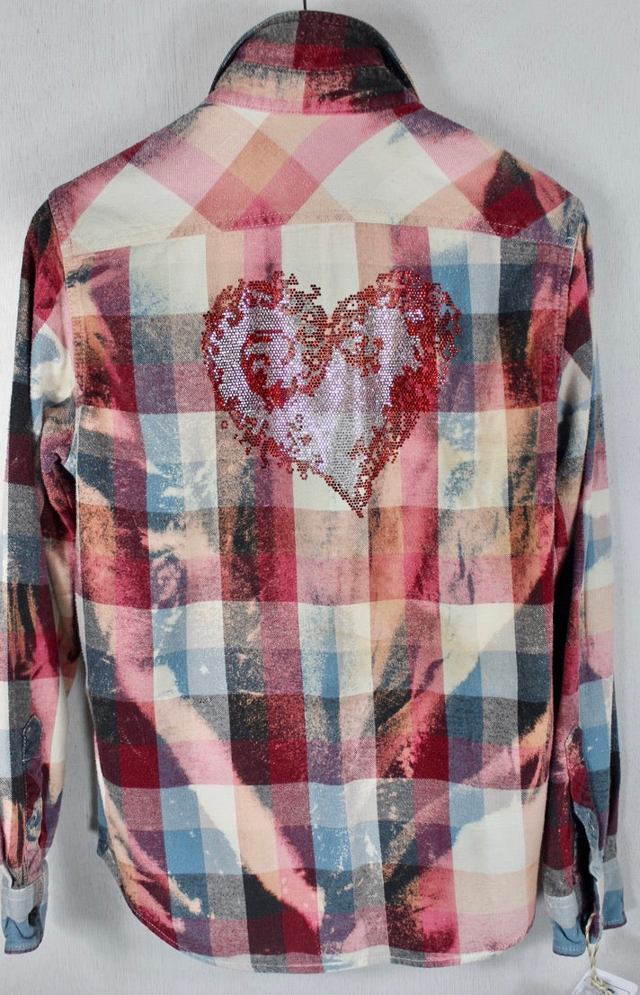 Fanciful Vintage Pink, Blue and White Flannel with Heart Size Small