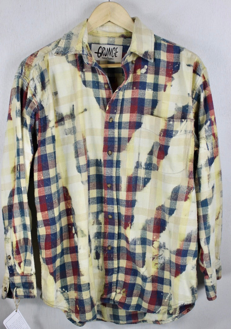 Grunge Vintage Faded Red, Teal and Light Yellow Flannel Size Large