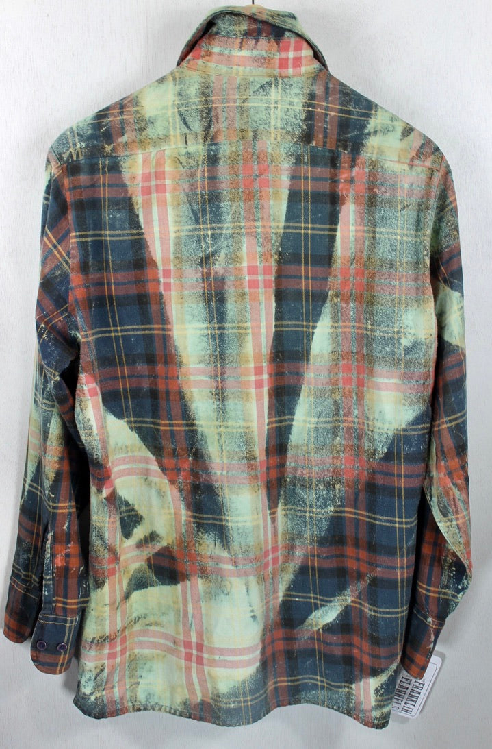Vintage Dark Green, Light Green and Rust Flannel Size Medium