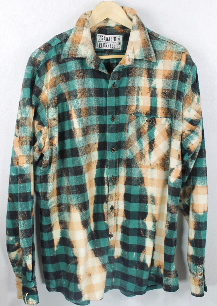 Vintage Emerald Green, Black and Rust Flannel Size XL