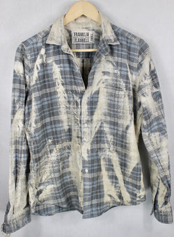 Vintage Grey, Light Blue and Cream Flannel Size Small