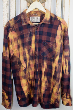 Vintage Brown, Black, and Gold Flannel Size Large