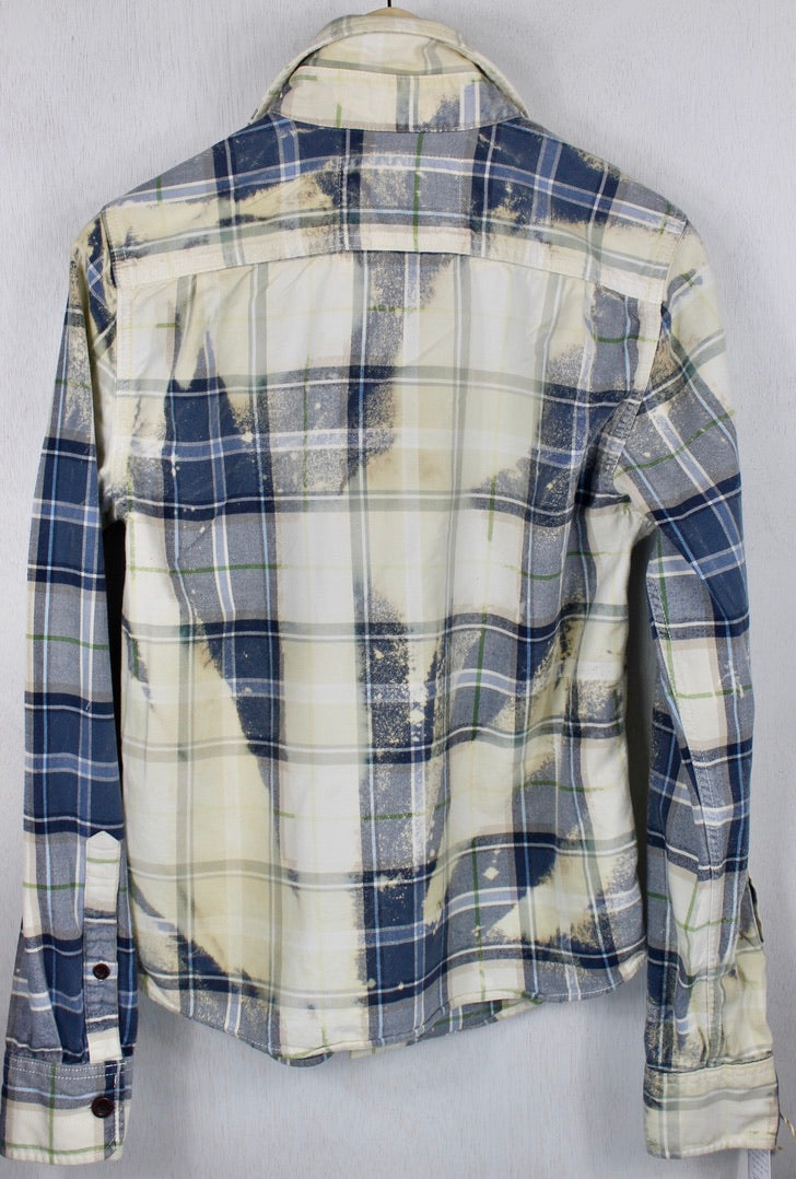 Vintage Light and Navy Blue with Cream Flannel Size Small