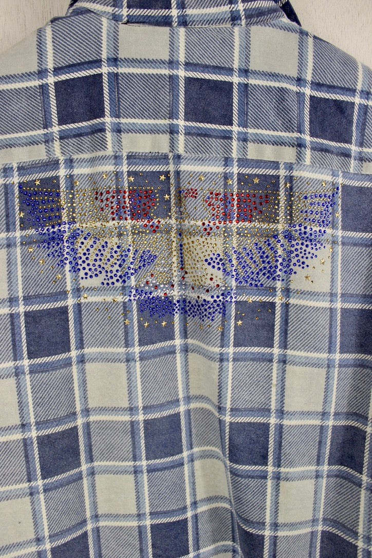 Fanciful Retro Light Blue Flannel with Eagle Size Medium