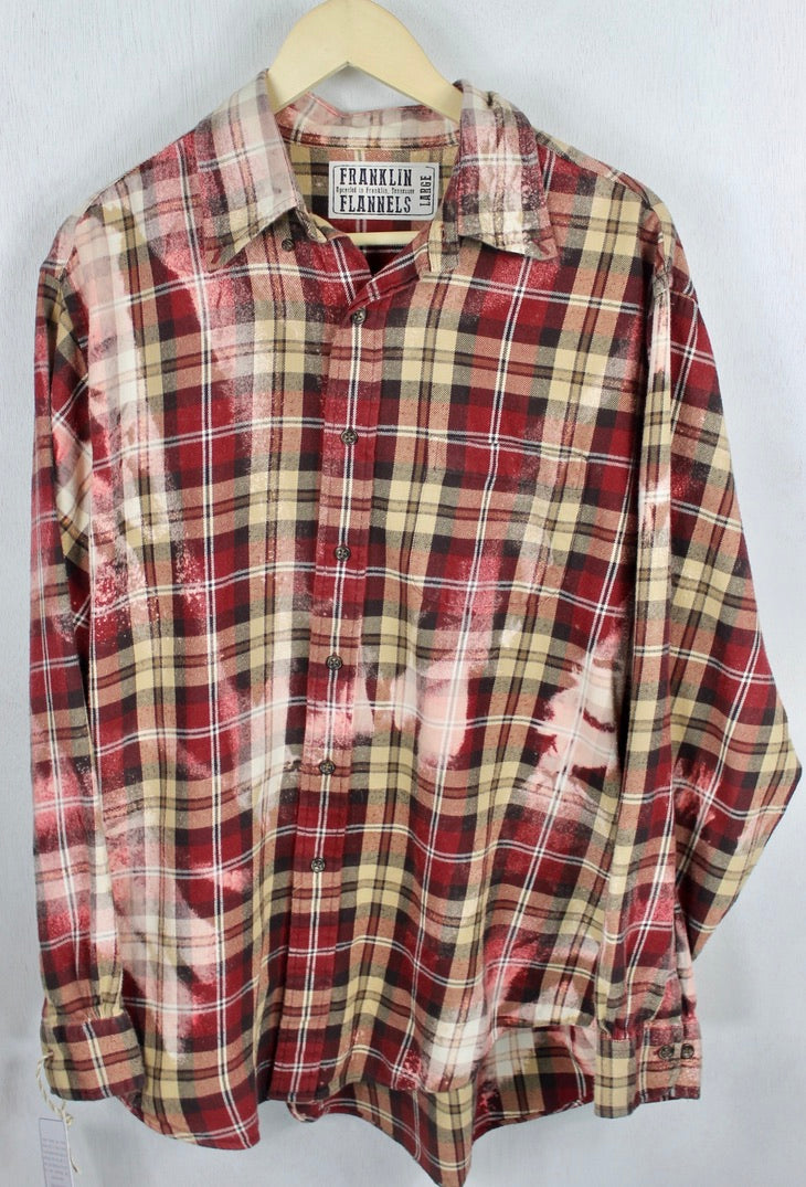 Vintage Merlot, Tan and PInk Flannel Size Large