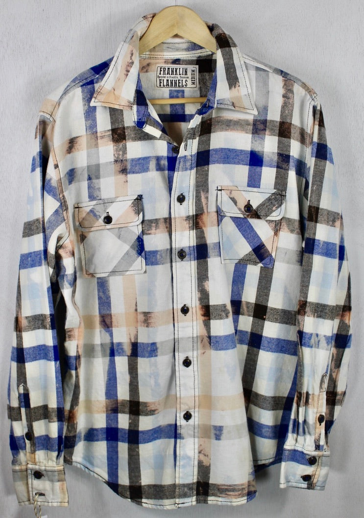 Vintage Royal Blue, Cream, Peach and Light Brown Flannel Size Medium