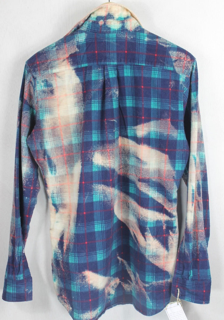 Vintage Navy Blue, Turquoise, Peach and Red Flannel Size Medium