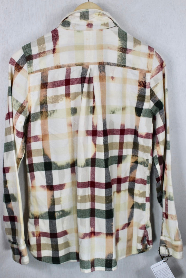 Vintage Light Yellow, Red and Army Green Flannel Size Small