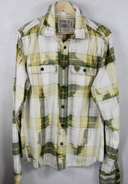 Vintage Army Green, Yellow and White Flannel Size Medium Tall
