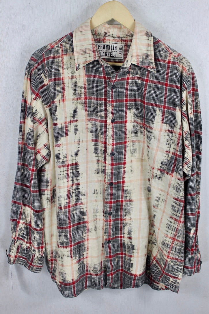 Vintage Grey, Red, and Cream Flannel Size Large
