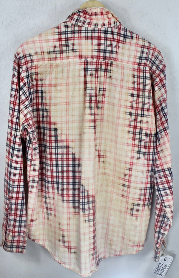 Vintage Red, Navy Blue and Cream Flannel