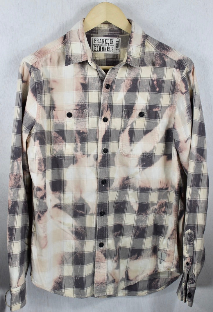 Vintage Grey, Cream and Peach Flannel Size Small