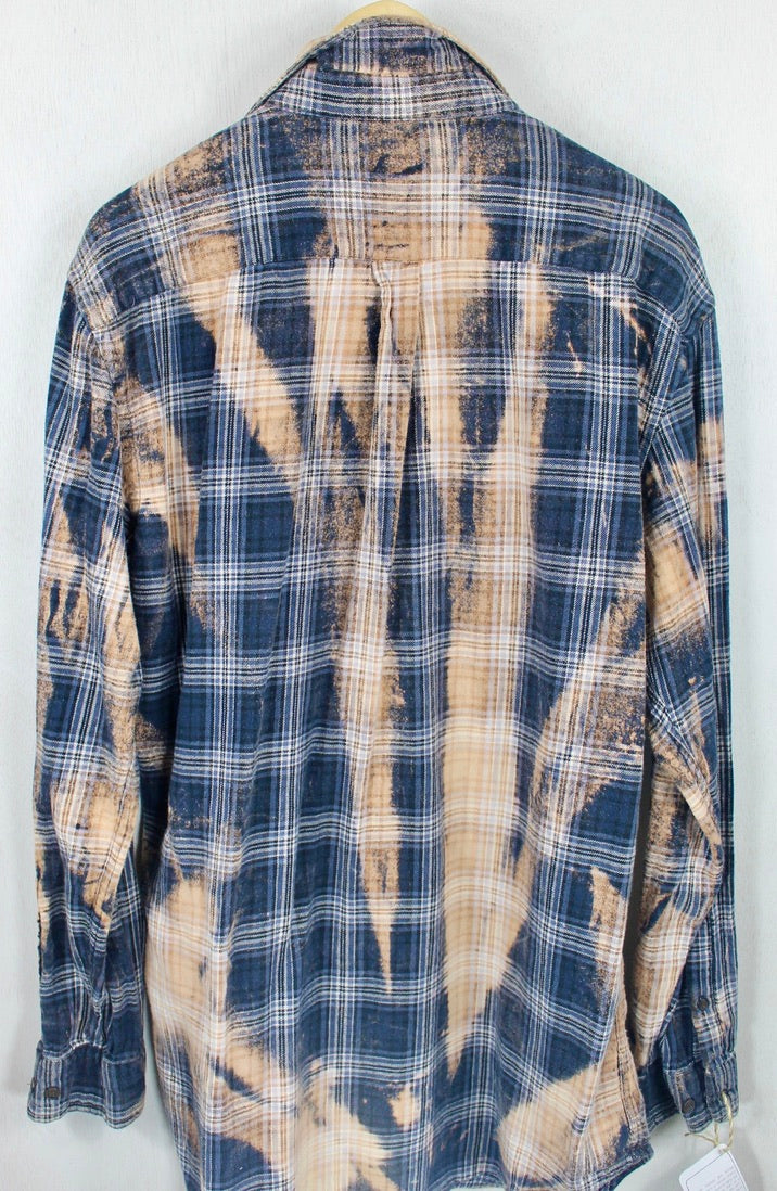 Vintage Navy Blue, Black adn Rust Flannel Size XL