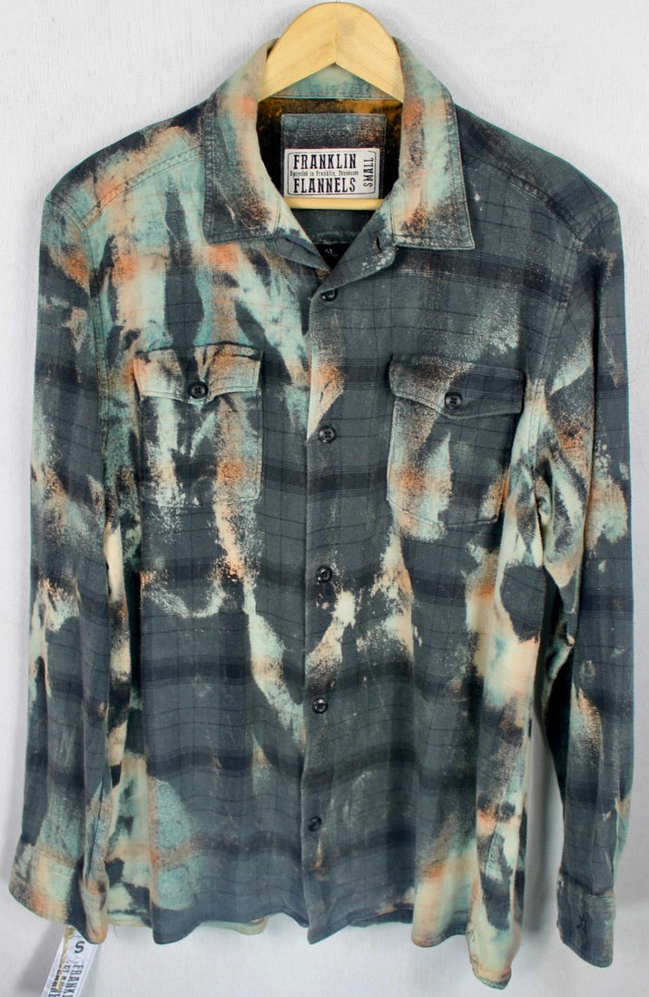 Vintage Army Green, Black and Seafoam Green Flannel Size Small