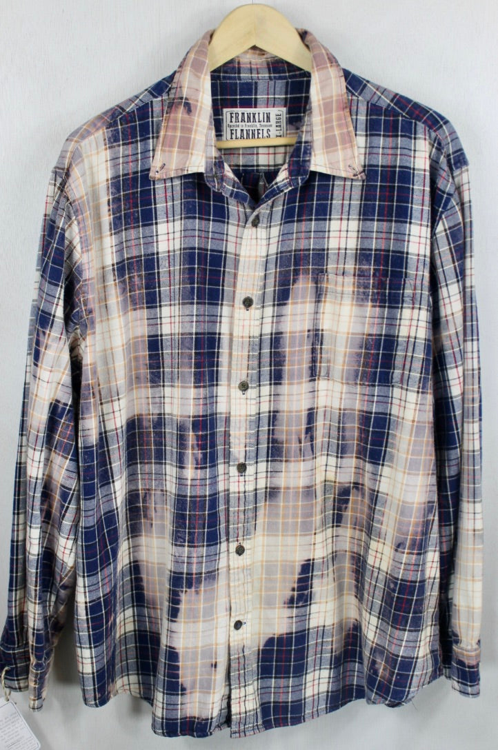 Vintage Navy Blue, Cream and Faded Blue Flannel Size XL