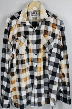 Vintage Black, White and Rust Flannel Size XL