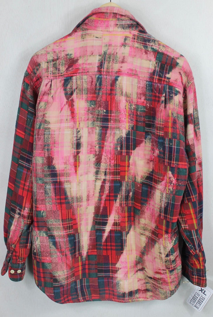 Vintage Red & Green Patchwork Flannel Size Large