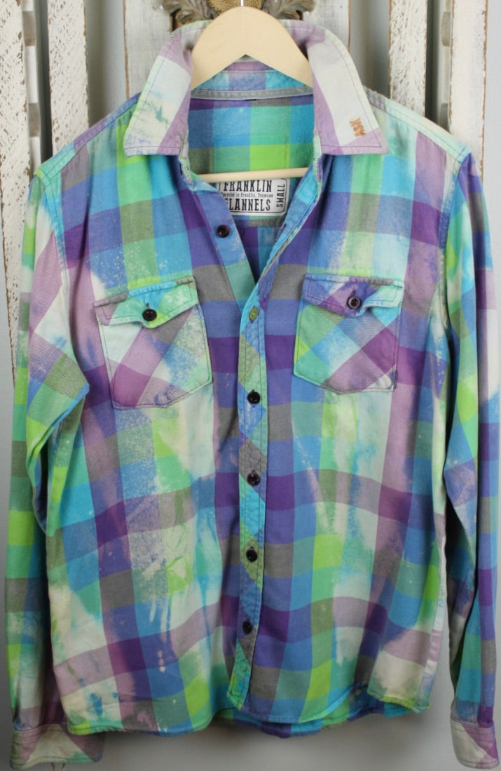 Vintage Lime Green, Purple, and Turquoise Flannel Size Small