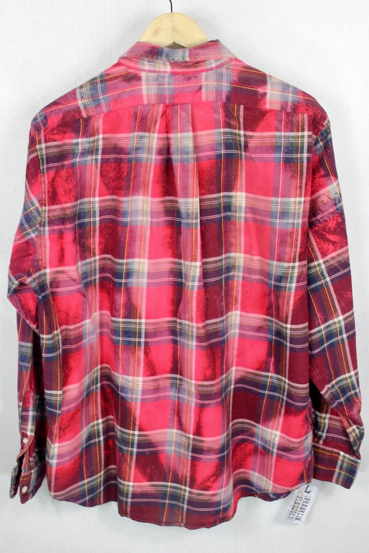 Vintage Burgundy, Light Red, Blue, and Forest Green Flannel Size Large