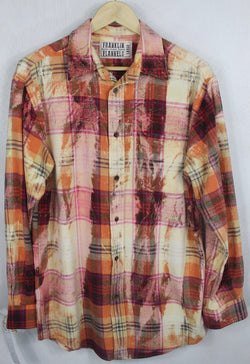 Vintage Red, Orange and Pink Flannel Size Large