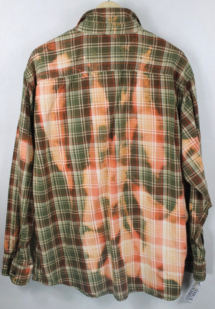 Vintage Army Green, Orange and Coral Flannel Size XL