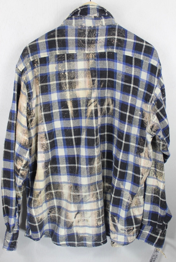 Vintage Royal Blue, Black and Cream Flannel Size XL