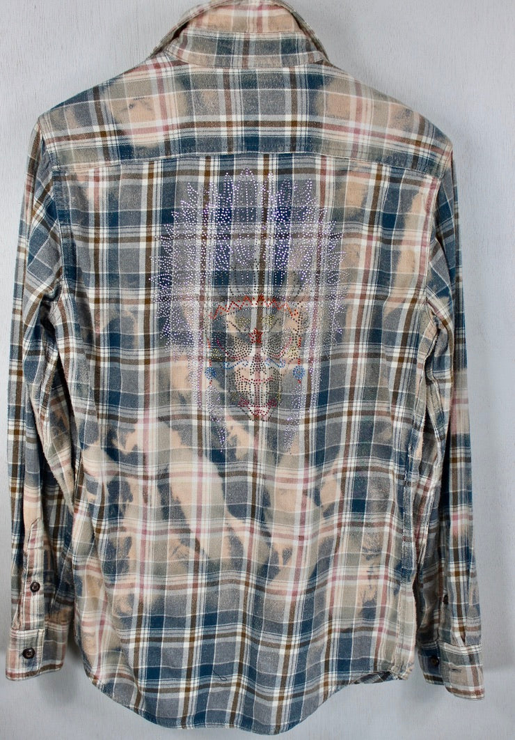 Vintage Grey, Teal and Peach Flannel with Skeleton Bling Size Small