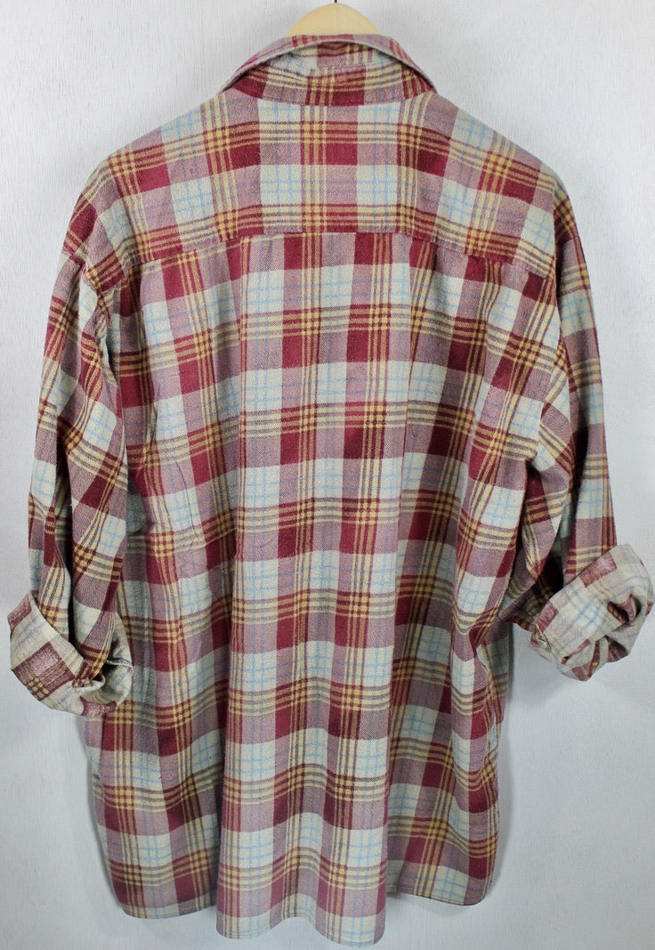 Vintage Retro Burgundy, Grey and Light Blue Flannel Size XL