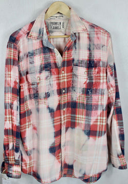 Vintage Red, Blue, Pink and White Flannel Size Medium